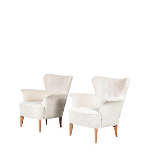 m24711 1950s easy chair Carl Malmsten Sweden new upholstery Carl Malmsten Sweden