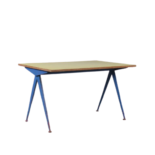 m24756 1950s Compas table on blue metal base with yellow top from the electricité Jean Prouvé Atelier Prouvé