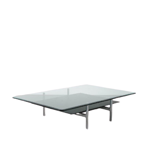 m24749 1980s Large rectangular coffee table on aliminium with leather base and glass top Antonio Citterio B&B / Italy