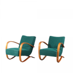 m24822 1930s Set of two easy chairs in light wood with green upholstery Jindrich Halabala Up Zavody Tjech