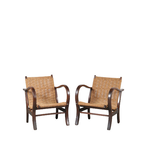 m24837 1930s set of 2 wooden armchairs with rope upholstery Erich Dieckmann Germany