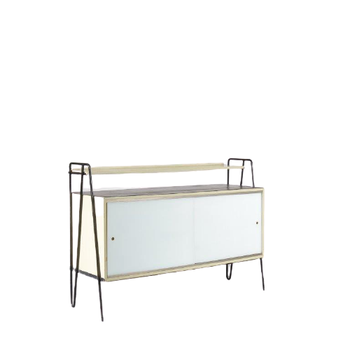 m24798 1950s Sideboard with glass sliding doors Gerrit Rietveld Jr. Netherlands