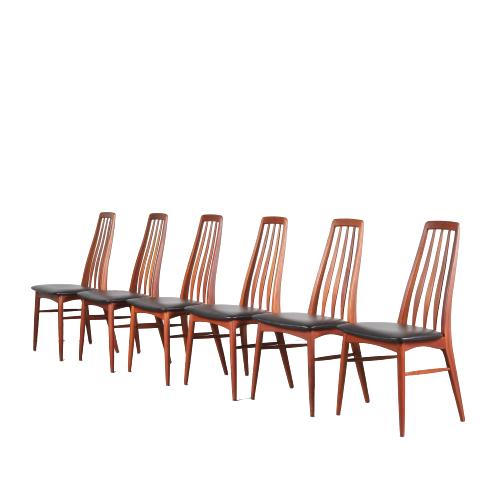 2011 G (50) m24740 1950s Set of 6 teak Eva chairs with new black skai upholstery Niels Koefoed Hornslet Denmark