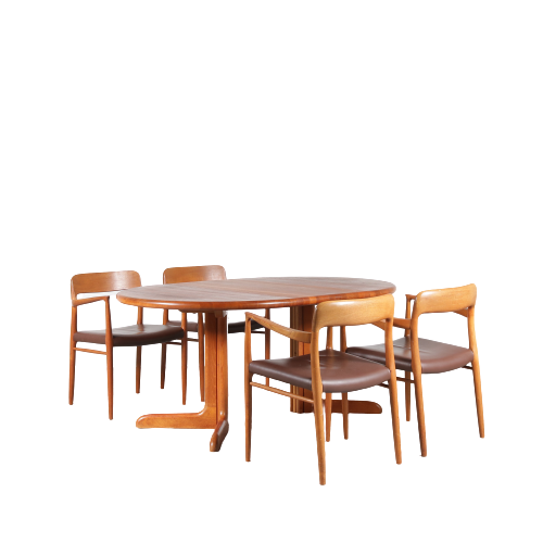 2012 1 G (110) m24893 1960s teak extendable dining table with 4 arm chairs teak with brown leather upholstery model 56 möller Möller Denmark