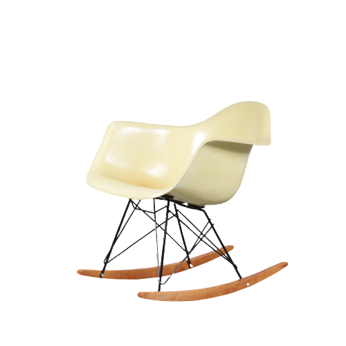m24891 1950s Rare yellow fiberglass arm shell with big shock mounts on new rocker base Eames Zenith Herman Miller / USA