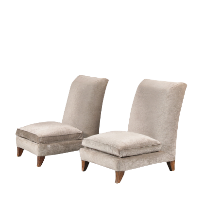 m24619 1930s Set of 2 lounge chairs on wooden legs with velvet upholstery Marcel Coad France