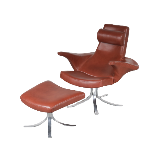 m24967 1960s Seagull easy chair + foot stool new brown leather upholstery Gosta & Eriksson Fritz Hansen DK