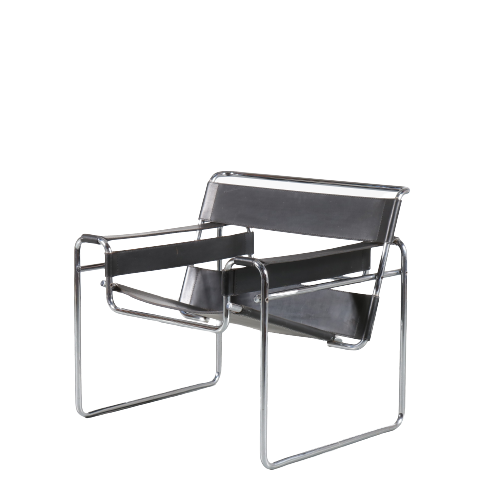 m24895 1960s Wassily chair in chrome pipe frame with black leather upholstery Marcel Breuer Knoll International USA