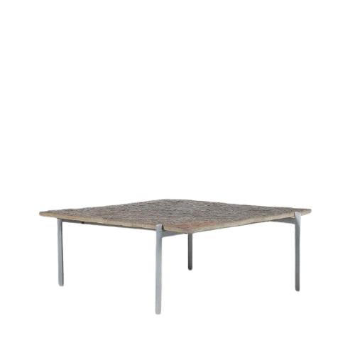 m24934 1960s Square coffee table on chrome metal base with slate stone top model PK61 Poul Kjaerholm Kold Christensen Denmark