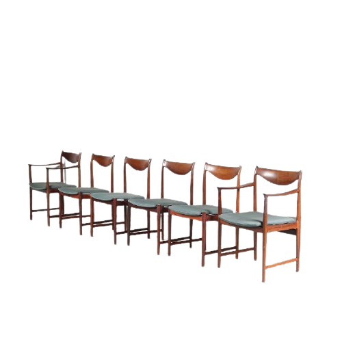 INC86 1960s Set of 6 rosewooden dining chairs with blue fabric upholstery, two chairs with armrests by Torbjorn Afdal for Nesjestranda Mobelfabrik, Norway