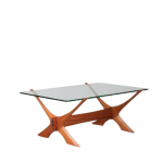 m24974 1960s Elegant wooden crossbase coffee table with glass top Fredrik Schriever-Abeln Örebro Glas Sweden