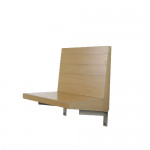 m24642-3 1970s Wall mounted seat in wood with copper nails Dom Hans van der Laan Netherlands