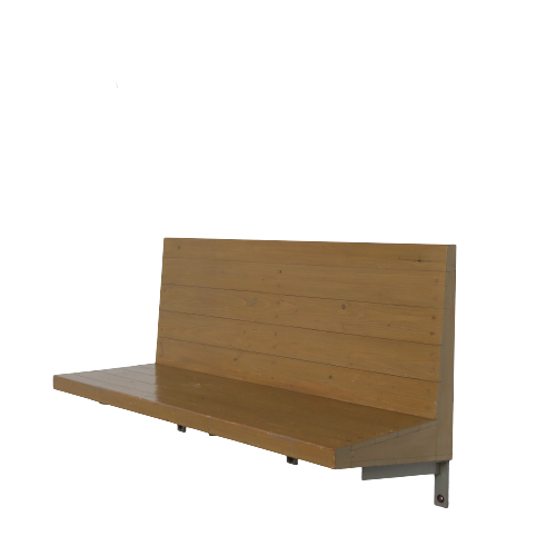 m24644-6 1970s Wall mounted bench in wood with copper nails Dom Hans van der Laan Netherlands