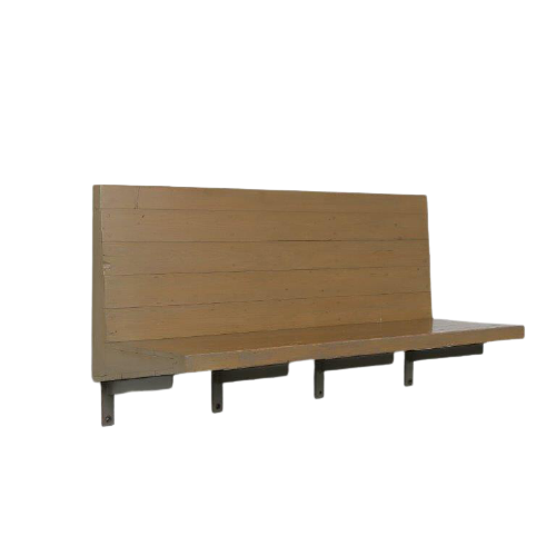 m24647 1970s Wall mounted bench in wood with copper nails Dom Hans van der Laan Netherlands