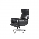 2102 1 G (59) m24914 1970s luxury black leather adjustable desk chair Otto Zapf Knoll Int. USA
