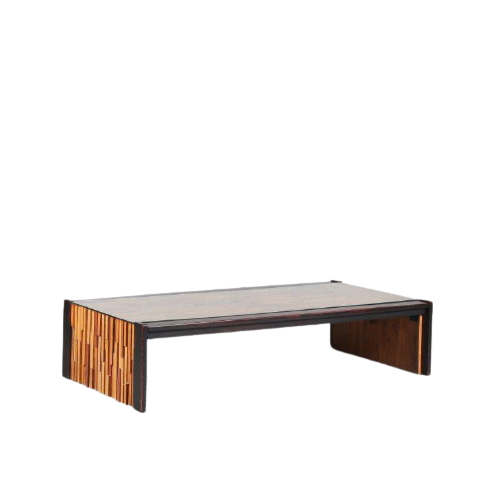 m24977 1970s Large rectangular hardwooden table with glass top Percival Lafer Lafer Brazil
