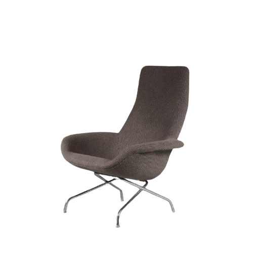 m23945 1960s Highback easy chair on chrome metal base with new upholstery Aulis Leinonen Asko Finland