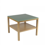 m24641 1970s Bossche School working table in wood with copper nails and green laminated top Dom Hans van der Laan Netherlands