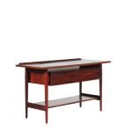 m25008 1950s rosewood console table 4 drawers black laminated circle in top Anne Vodder Sibast Denmark