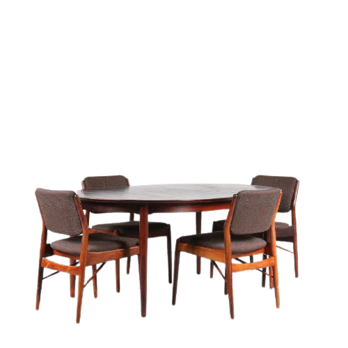 m25009 1950s rosewood dining set 4x chair + table with 2x inlay top Anne Vodder Sibast DK