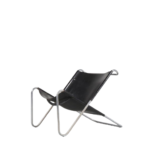 m25015 1970s easy chair chrome metal frame with black neck leather upholstery Kwok Hoi Chan Spectrum NL