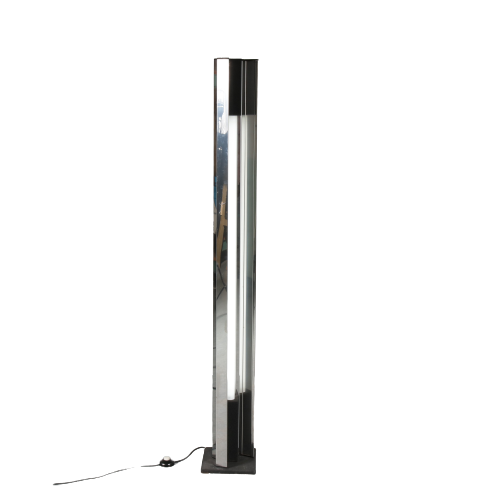 L4705 1970s rare black metal with chrome floor lamp model moonlight Sottsass Arredoluce ItalyL4705 1970s rare black metal with chrome floor lamp model moonlight Sottsass Arredoluce Italy