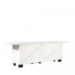 m25044 1980s white laquered sideboard with diagonal stripes in the doors Pierre Carding Air Industrie France