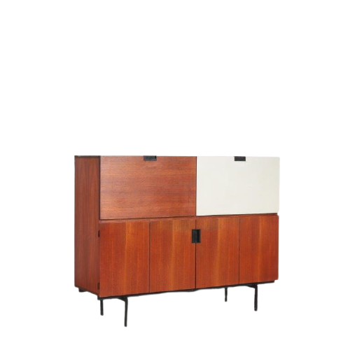 m25063 1950s Teak cabinet with one white drop down door on thin black metal base model CU07 Cees Braakman Pastoe Netherlands