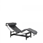 m25068 1980s Lounge chair on black with chrome metal base and black leather upholstery, model LC4 Le Corbusier Cassina / Italy