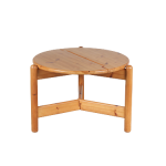 m24666 1970s Pine dining table with three legs, convertable to console table Rainer Daumiller Hirtshals Denmark