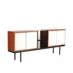 m25024 1950s Sideboard model Bornholm black metal base with teak and white cabinets Martin Visser Spectrum Netherlands