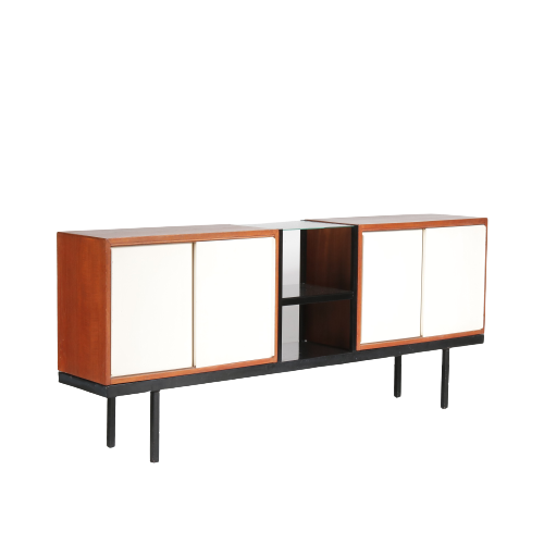 m25024 1950s Sideboard model Bornholm black metal base with teak and white cabinets Martin Visser Spectrum Netherlands