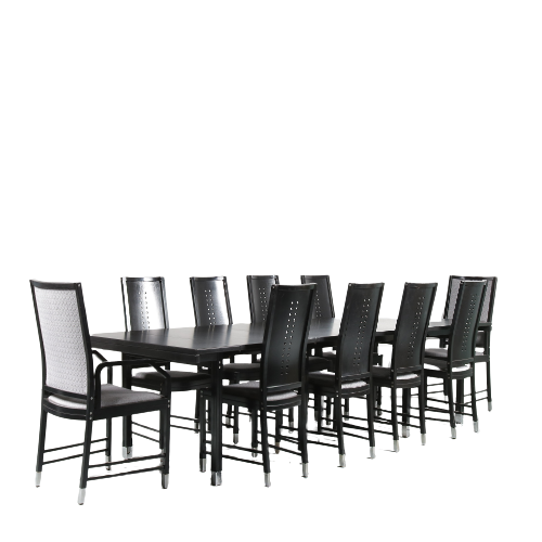 2105 1 G (18) m24485-6 1980s Set of black wooden extendible dining table with ten chairs with chrome metal leg ends from the Fine Forms series by Ernst W. Beranek for Thonet, Austria