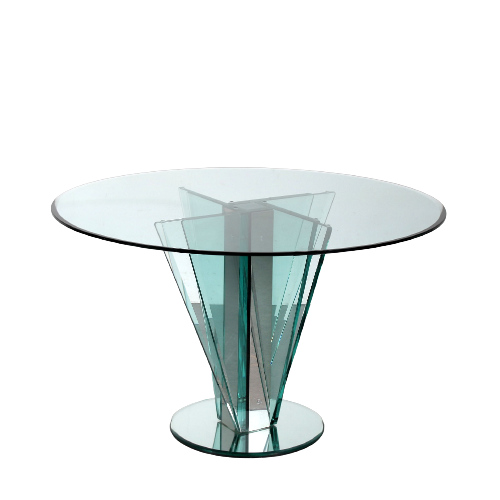 m25205 1970s Outstanding Nile Glass table with chrome details and mirrored bas attributed to Pietro Chiesa Fontana Arte / Italy