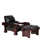 m25258 1970s Unique large mahogany wooden easy chair with foot stool with black leather upholstery Luciano Frigerio Luciano Frigerio / Italy