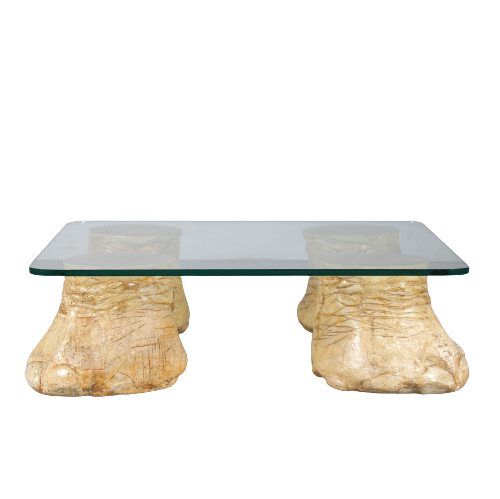 m25259 1960s Unique coffee table with faux elephant legs
