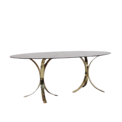m25142 1970s Large dining table on two brass bases with oval smoke glass top Belgium