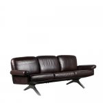m25145 1960s Brown leather 3-seater sofa + easy chair on chrome metal base, model D31 De Sede / Switzerland