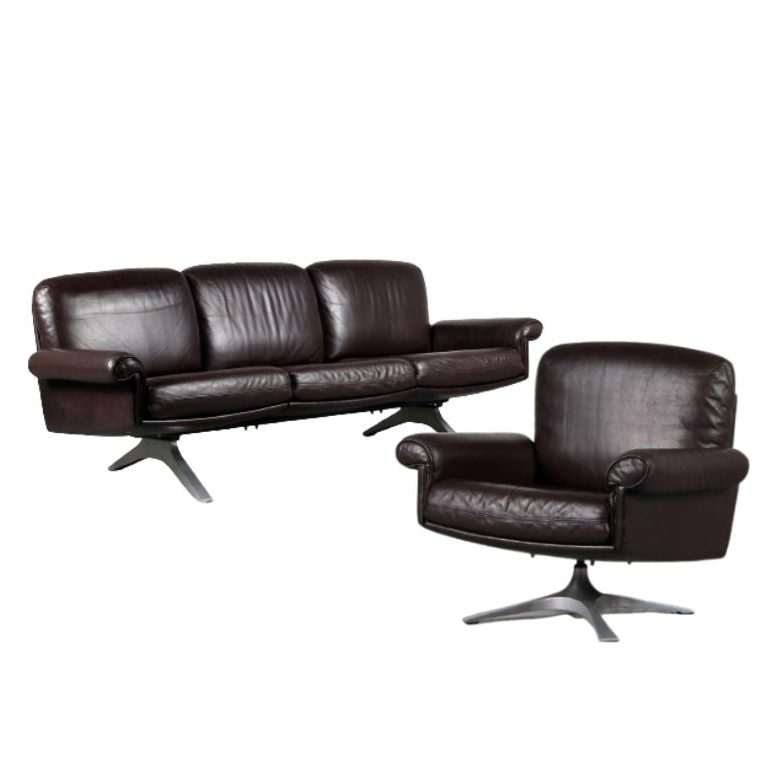 2105 G 3 (20) duo m25145 1960s Brown leather 3-seater sofa + easy chair on chrome metal base, model D31 De Sede Switzerland