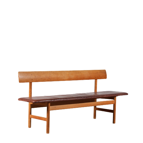 m25248 1950s Model 3171 bench in teak with leather Borge Mogensen Fredericia / Denmark