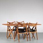 m25266 1950's oak dining table with 4 chairs model sawbuck Hans J. Wegner Carl Hansen / Andreas Tuck Denmark