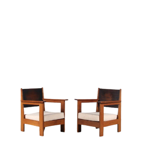 2106 6 G (73) IN93 1930s Pair of Haagse School easy chairs, Netherlands