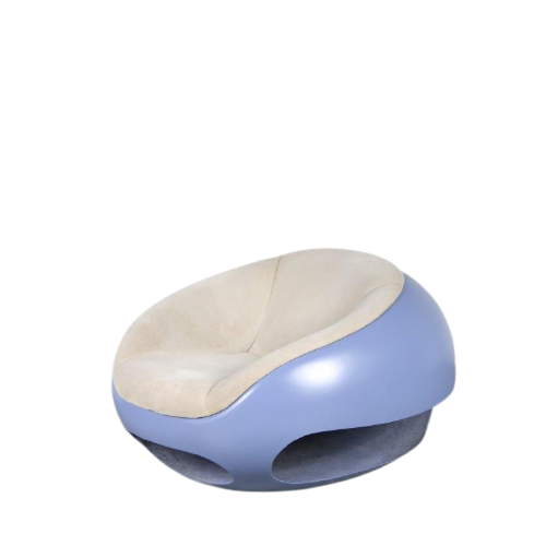 """m24776 1960s Unique """"Pod"""" chair on white fiberglass base with original grey/beige upholstery Mario Sabot Italy"""