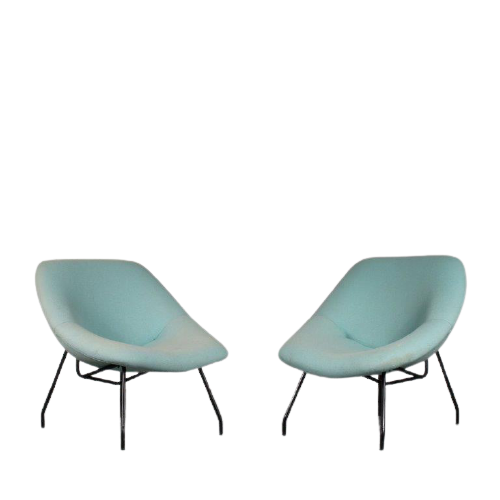 m25418 1950s Pair of easy chairs on black metal base with blue upholstery G.A.R. Dep. / France