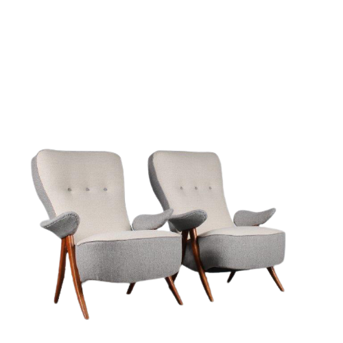 2108 3 (11) m25225-6 1950s Lounge chair on birch base with original upholstery, model 107 Theo Ruth Artifort Netherlands
