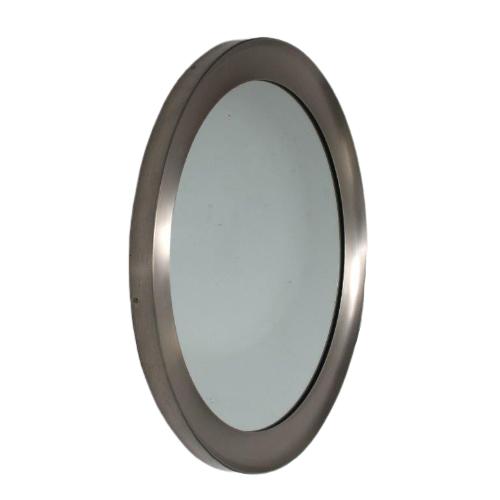 "m25384 1950s ""Narciso"" Big round mirror with aluminium edge Sergio Mazza Artemide / Italy"