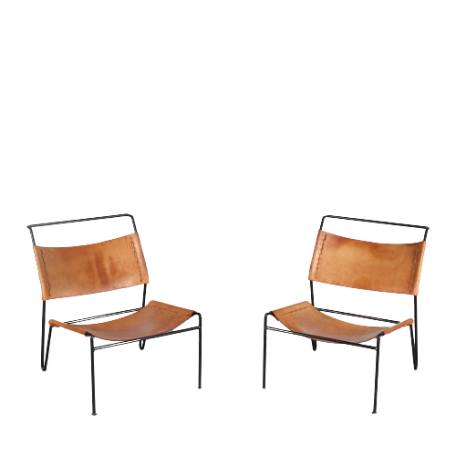m25463 1950s Pair of easy chairs on black wire metal base with thick saddle leather upholstery A. Dolleman Metz & Co / Netherlands