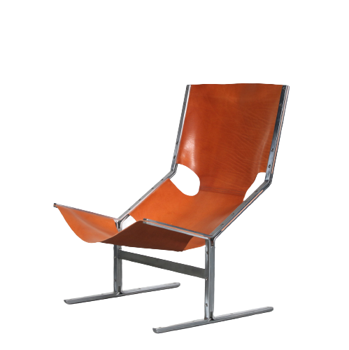 m25282-3 1960s Chrome metal with leather sling lounge chair Pierre Thielen Metz & Co / Netherlands