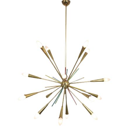 L4774 1950s Brass Sputnik lamp with coloured sticks Stilnovo? Italy