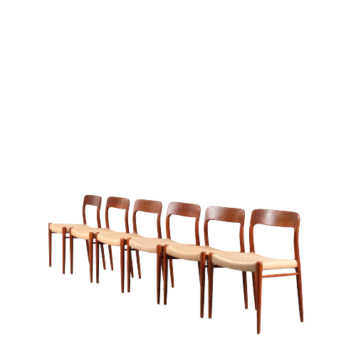 2110 2 (76) m25526 1950s Set of 6 teak dining chairs with papercord upholstery Moller Denmark
